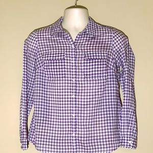 Loft Purple and White Gingham, Long Sleeve Blouse